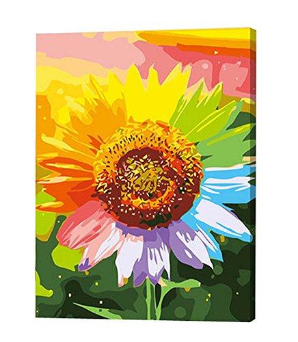 DIY Digital Ölgemälde Lliving Raum Landschaft Blumen Farbe Ölmalerei , Sonnenblume