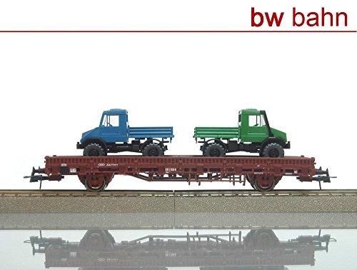 roco-professional-h0-47696-rungenwagen-kbs-db-mit-2-mb-unimog-wiking-neu