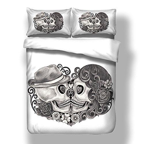 Bettwäsche Set 3D Liebhaber Skull Weißer Hintergrund Schwarz Schädel Kissing Bettbezug mit Kissenbezug Einzelbett Doppelbett King Size (200x200cm)
