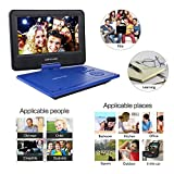 """DBPOWER 9.5"""" Portable DVD Player, 5 Hour Rechargeable Battery, Swivel Screen, Supports SD Card and USB, Direct Play in Formats AVI/RMVB/MP3/JPEG (9.5, Blue)"""