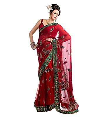 Jay Fashion Net Saree With Blouse Piece (Gfssss13_Multi-Coloured_Free Size)