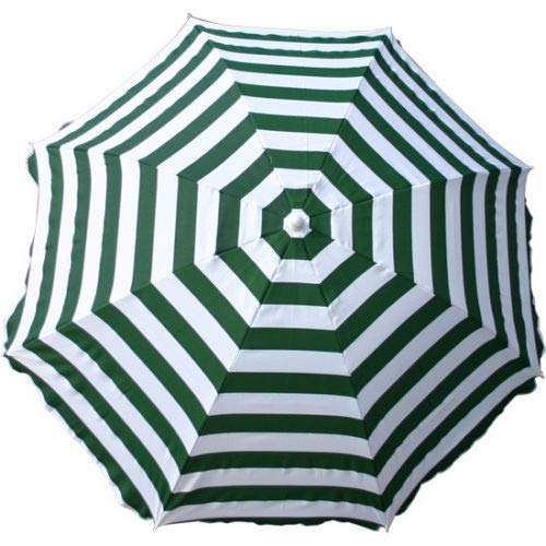 Greenbay Parasol Ø 160 cm inclinable pour patio jardin balcon piscine plage rond Sunscreen Rayures blanches vertes