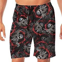Idea Regalo - Scheletro Dito Medio Pantaloncini da Spiaggia Elasticizzati Quick Dry Pantaloncini da Spiaggia Pantaloni Costume da Bagno da Bagno con Tasche. XL