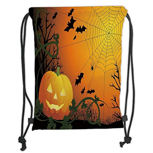 Fashion Printed Drawstring Backpacks Bags,Spider Web,Halloween Themed Composition with Pumpkin Leaves Trees Web and Bats Decorative,Orange Dark Green Black Soft Satin,5 Liter Capacity,Adjustable S