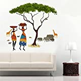 #7: Wall Sticker for Bed Room Kids Room Living Room Hall walls African Jungle Story ' (Material - Pvc Vinyl Matte Finish, Wall Coverage Area - Height 90Cm X Width 100Cm) by FRIENDS OFFICE AUTOMATION