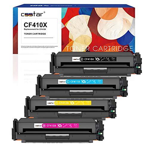 CSSTAR Kompatibel Toner Ersatz für HP 410X CF410X CF411X CF412X CF413X für Color Laserjet Pro MFP M477fdw M477fdn M477fnw M377dw M452dn M452nw M452dw Drucker - Schwarz, Cyan, Gelb, Magenta -