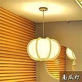 BRIGHTLLT Massivholz japanische Kronleuchter kreative Persönlichkeit Holz- Kürbis Licht Schlafzimmer mit Einzelbett Studie Restaurant, 450 * h 280 mm Lampe
