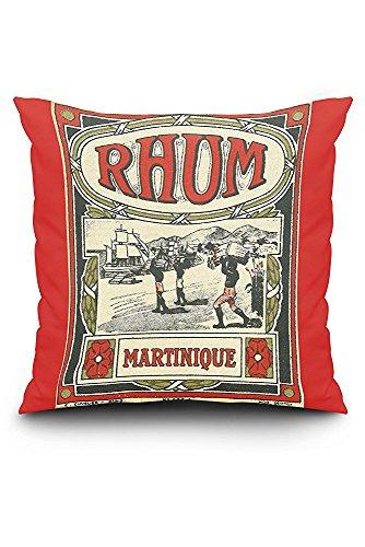 Rhum Martinique Brand Rum - Vintage Label (20x20 Spun Polyester Pillow Case, Black Border)
