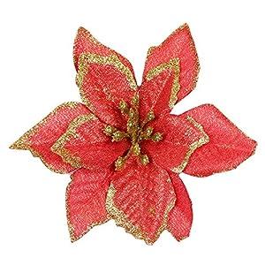 SGerste – 20 adornos de flores artificiales con purpurina para árbol de Navidad, boda, color rojo