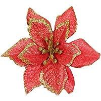 SGerste - 20 adornos de flores artificiales con purpurina para árbol de Navidad, boda, color rojo