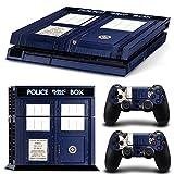 DOTBUY PS4 Skin Aufkleber Sticker Design Folie schützende Haut Schale für Sony Playstation 4 Konsole und 2 Dualshock Controller (Police Box)