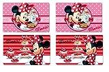 4x Tischset 3 D / Tischunterlagen /Tischset /Tisch Matten / Platzdeckchen / Essunterlage/ Platzset / Placemat , Malunterlage, Knetunterlage, Bastelunterlage aus Kunststoff Minnie Mouse 42 x 28 cm tolles geschenk für Mädchen