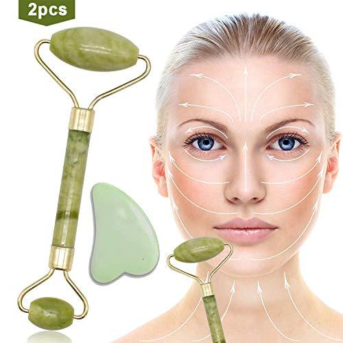 Jade Roller Massagegerät, Anti-Aging, Gesicht abnehmen und bewegen Massagegerät Werkzeug Gesichtsmassage Körperhaltung, Körperhaut, Rücken (Grün)