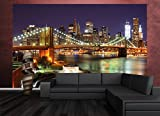 great-art Fototapete New York Wandbild Dekoration Brooklyn Bridge bei Nacht leuchtende Wolkenkratzer Skyline Wall Street USA Deko