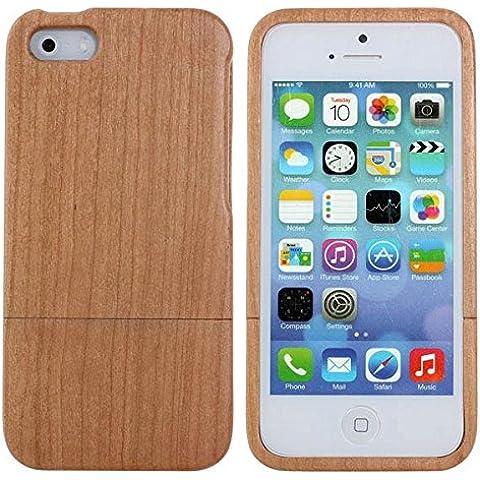 Cubierta de la caja de madera del Medio Ambiente con botones para iPhone 5 5S.