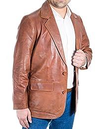 Herren maronenbraun aus italienischem Leder Schlank mit zwei Knšpfen Klassische Leder Blazer