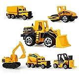 Kunststoff Spielzeugauto 6 Baufahrzeuge in einem Fahrzeugset,AEVEA 12cm Baustelle Spielzeug Geschenkset