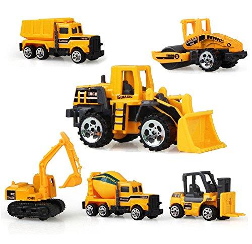 6 Paquete Vehículos de Construcción Metal y Plástico,AEVEA Construcción Camiones Excavadora,Cemento Camión,Basura Camión,Camión Cisterna,Bulldozer,Montacargas para Niños(Edad 3+)