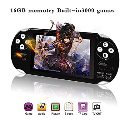 "YLM Handheld Game Console , Retro Game Console with 3000 Classic Games 4.3"" 64 Bit Portable Game Console"