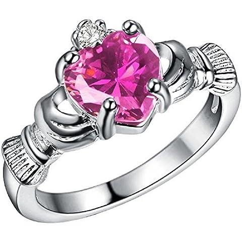 Bling Fashion placcato In argento 925, che sono In My Heart-Anello a forma di cuore, colore: rosa