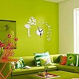 Arichtop DIY 3D Schmetterlinge Fairy Mädchen Wandaufkleber Spiegel Wanduhren Office Home Dekoration