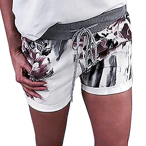 im Kurze Hose Yogogo Sexy Blumen Druck Sommer Yoga Leggings Bandage Yogahose Kordelzug Hosen Bleistift Pants 3/4 Tummy Control Laufhose Sport Workout Leggins Dünne Sporthose ()