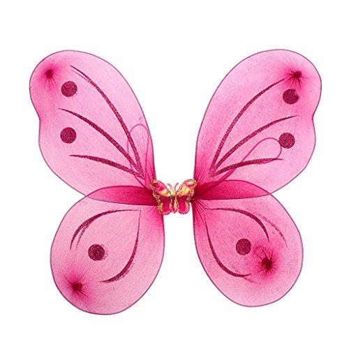 Machen Tanz Kostüm Zubehör - Homyl Elegante Feenflügel Schmetterlingsflügel Elfenflügel Kostüm Zubehör für Party Tanz und Kindergeburtstag zum Mädchen - Rose