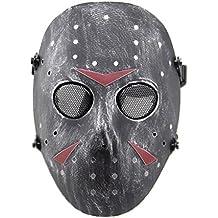 Haoyk CS giochi maschera Jason in metallo salvaguardia completo maschera protettiva per Halloween in maschera costume cosplay party, Silver Black