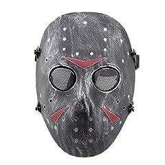 Idea Regalo - haoYK - Maschera da Jason per giochi CS, maschera integrale a rete protettiva, ideale per Halloween, feste in costume e cosplay, colore: metallo, Silver Black