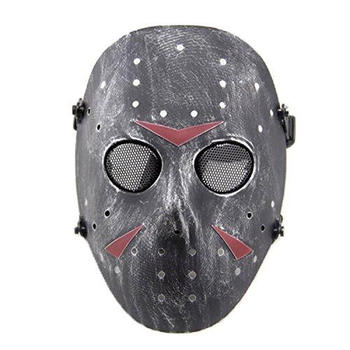 n Metall Mesh Maske Safeguard Full Face Schutz Maske für Halloween Masquerade Cosplay Kostüm Party, silber, schwarz (Schaum Halloween-masken)