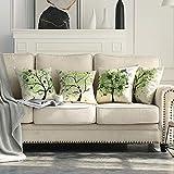 MIULEE Juego de 4 Lino Cojines Árbol Verde Funda de Cojín Almohada Caso de Decorativo Cojines para Sala de Estar sofá Cama Coche 18'x18' Pulgadas 45x45cm