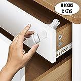 Cerraduras Magnéticas de Seguridad para Bebés y Niños - para Armario y Cajones - Fácil de Instalar, Sin Tornillos o Perforación - Tiras Adhesivas 3M - (8 cerraduras 2 llaves)
