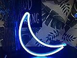 AIZESI Mond Lampe Leuchte Mond Deko Wandleuchte Mondlicht LED Neonlicht Wanddekor Licht Nachtlicht Kinderzimmer Dekoration Ein Fall 3 AAA Batterien oder USB-Betrieb(Blauer Mond)
