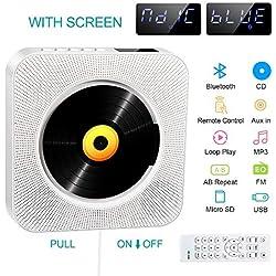 Lecteur CD Portable,Lecteur CD Montage Bluetooth Mural,Port Audio de 3,5 mm,Radio FM avec Télécommande,Clé USB/Prise de Carte Mémoire SD et Audio AUX Entrée (White.)