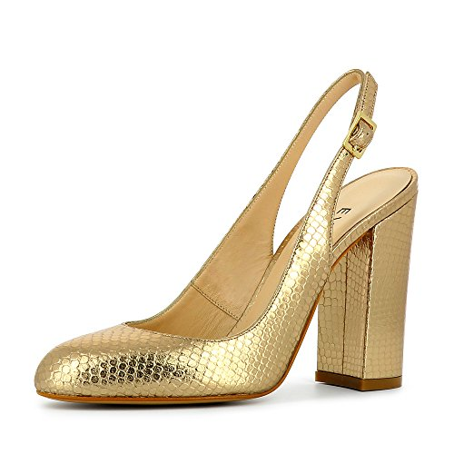 ILENEA Damen Sling Pumps Pythonprägung Gold