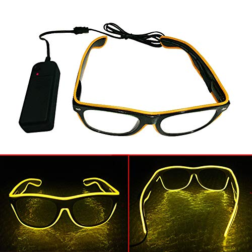 (El Wire LED Gläser, Spezielle Shutter Light Monochrom EL Draht Glow Shades Brillen Brillen W/Batterie Case Controller für Rave Kostüm Party DJ Musik Party Halloween Weihnachtsgeschenk gelb)