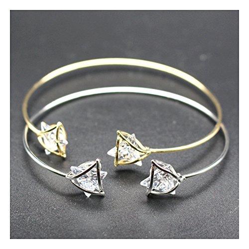 Preisvergleich Produktbild Maoaya 1pcs Damen Armband Künstliche Schmuck Dreieck Form Armreif Armbänder Armschmuck (Weißes Gold)