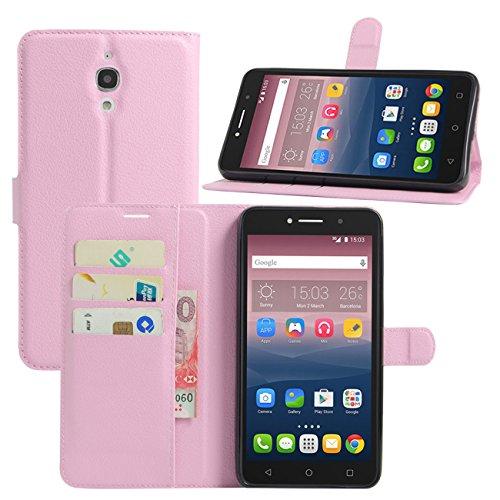 HualuBro Alcatel Pixi 4 (6 Zoll) 3G Hülle, Leder Brieftasche Etui Tasche Schutzhülle HandyHülle [Standfunktion] Lederhülle Flip Case Cover für Alcatel OneTouch Pixi4 6.0 Zoll 3G 8050D (Pink)