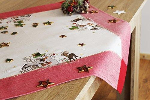 """Bezaubernde Serie """" SNOWMAN MEETS REINDEER """" in creme mit Schneemännern, Rentieren und rotem Rand verziert - ein echtes Schmuckstück - Winter Advent Weihnachten (Tischdecke 85x85 cm)"""