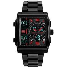 FeiWen Relojes de Hombre 50M Impermeable Deportivo Digitale Cuarzo Analógico Electrónica LED Tres Tiempo Outdoor Militar