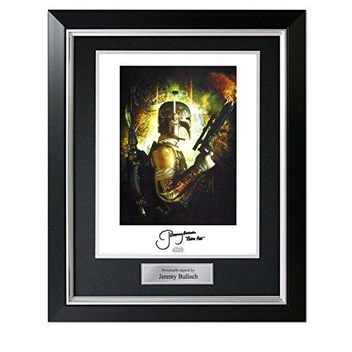 Boba Fett signiertes Star Wars-Plakat im Deluxe-Schwarz-Rahmen mit Silber-Einlage Autogramm Sport-memorabilien