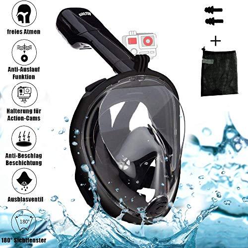 Kuultoy Tauchmaske/Schnorchelmaske mit 180° Sichtfeld und geeignet für GoPro Kamera Halterung | Anti-Beschlag, Anti-Leck und Wasserdicht für Taucher und Schnorchelfans Vollmaske Schnorchelset (S/M)