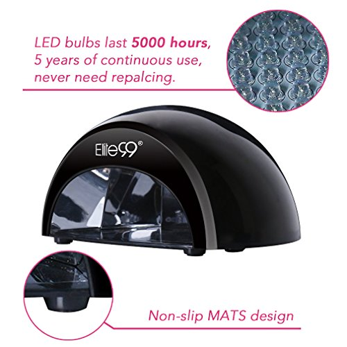 51O1cwFERwL - LED Nail Lamp Kit, Elite99 12W Black Professional Nail Dryer Machine Fast Curing LED Gel with 4 Timers Presets (30s, 60s, 90s, 30min) , UK PLUG, + FREE GEL NAIL POLISH TOP BASE COAT SET, Safer for Nails and Skin Than Traditional UV Nail Lamps