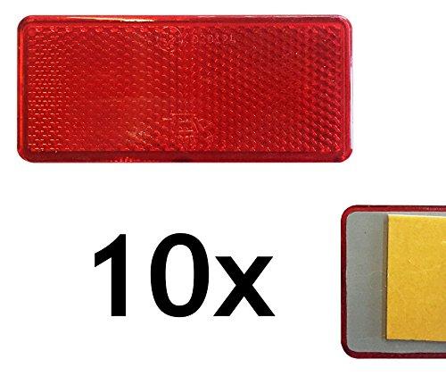 10er - Set | Rückstrahler, Seitenstrahler, Reflektor (orange, weiß oder rot, rechteckig, 90x40mm) selbstklebend mit E-Prüfzeichen - Im 10er Vorteilspack - … (Rot)