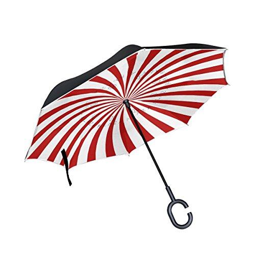 TIZORAX rot Hypnose Spirale seitenverkehrt Double Layer gerade Regenschirme Inside Out wendbar...