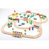 point-kids set de train en bois - 100 pièces