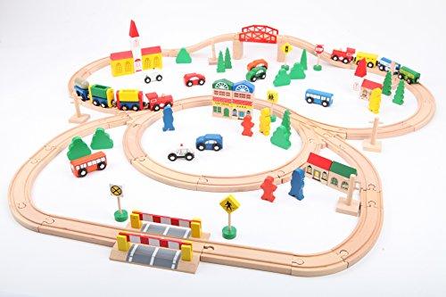 point-kids Lote de 100 piezas de madera, diseño de vía del tren