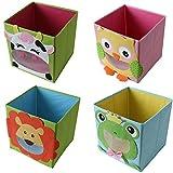 4 Stück TE-Trend Textil Faltbox Spielbox Tiermotive Frosch Affe Eule Kuh Aufbewahrung Truhe für Spielzeug faltbar 28 x 28 x 28 cm