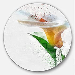Artdesign Designart MT13565 C23 Beautiful Flower with Paint Splashes Floral Disc, 23