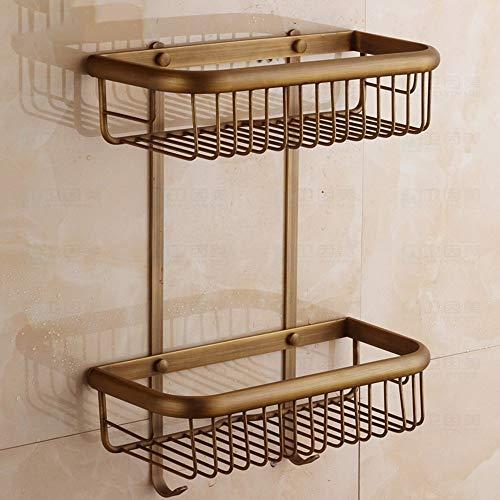 WI Hochwertige Küche Badezimmer Regal, All-Kupfer Antik Regal/Bad Rechteckigen Haken mit Korb/Solid Zwei-Tier-Korb Sicherstellung der Qualität, Handtuchhalter,45 cm -